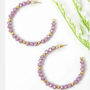 2/$30  Purple Glass Bead Hoop Earrings